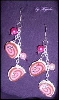 Strawberry Roll Earrings by Hyo-pon