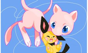Mew and Pichu by Kyu-Kyuubi