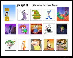 My Top 13 Characters That Needs Therapy by Toongirl18