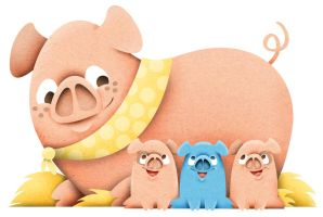 Mummy Pig with Piglets by See-past-the-madness