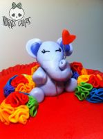 Fondant Elephant for the Rainbow Ruffle Cake by Corpse-Queen