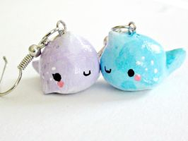 Kawaii Narwhal Earrings by Claytacular