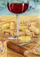 Wine Glass and Corks by JoannaBromley