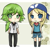 N and Lisa chibis by Evomanaphy