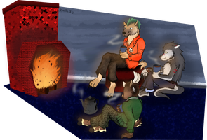 Request: Around the Fireplace by Doodlz18