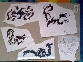 Various tribal dragons by My-Freedom-In-Art