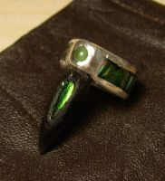 Jewel Beetle Inlaid Ring by LaughingScarab