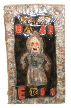 Flatwoods Monster / Discordian Collage Object by aberrantceramics