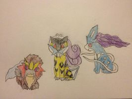 Entei, Suicune, and Raikou by Darkshadowarts