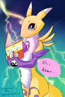 Renamon against artbook by Takefive-kun