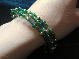 Green, Teal and Silver Memory Wire Bracelet by Slersk