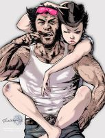 Wolverine and Jubilee 03: her shades, his hat by Ricken-Art