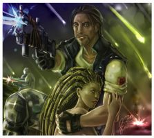 Starcraft: Raynor and Kerrigan by fenikkusu
