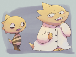 Monsterkid and Alphys by boke-0327