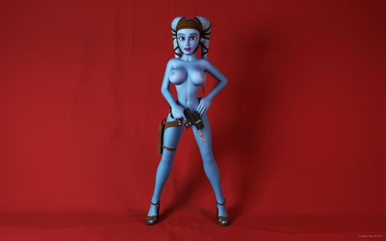 Aayla Secura topless with gun by kondaspeter1