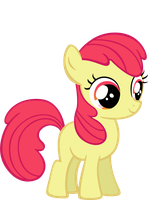 Apple Bloom without her ribbon by BloodyKeyblade