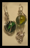 Wire Marble Pendants by jesspotter