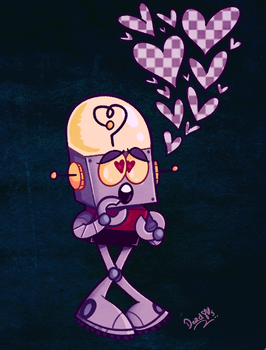 young robot in love by dead80s