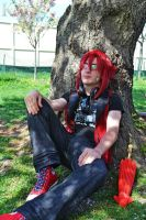 Grell Relaxing Under the Cherry Blossoms by DigiDrawer