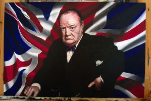 WIP Acrylic of Winston Churchill by NorthumbrianArtist
