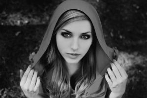 Little Red Riding Hood  Black and white by ThePastMoment