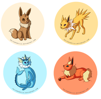 RBY Eeveelutions Buttons by SaltedVanilla