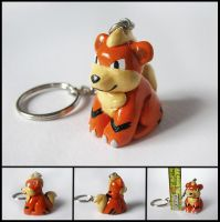 Clay Growlithe Keychain Charm by WispyChipmunk