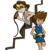 Digimon02 Indiana Matt 'n Tai by Shigerugal