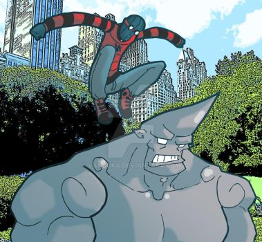 Spiderman v.s Rhino by vanouka