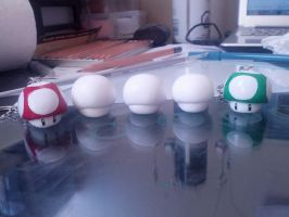 Red and Green Mario Mushroom Keychains by SamanthaBranch