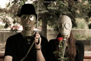 Mr. and Mrs. Gasmask II by Teophoto