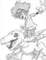 Tai and Agumon by wolf-by-the-moon