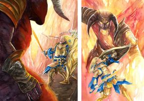 Glorfindel and the BAlrog in 2 parts by AbePapakhian