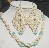 Winter White and Ice Blue 2-Strand Crochet Jewelry by doilydeas