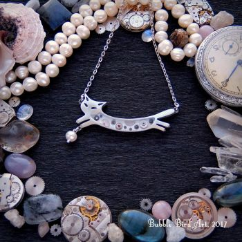 Perry the Cat - steampunk necklace with pearl by IkushIkush