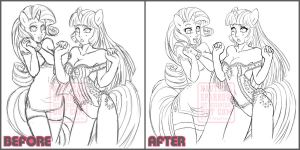 MLP anthro : before and after by NauticalSparrow