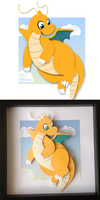 Papercutting : Dragonite by Zayger