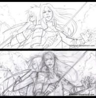 Madara and Hashirama: clean and dirty sketch by Kibbitzer
