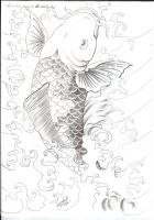 Koi with Water Tattooflash by 2Face-Tattoo