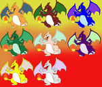 Charizard and his 7 other colours by richard16