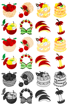 The cute icons of apple sweets by atelier-bw