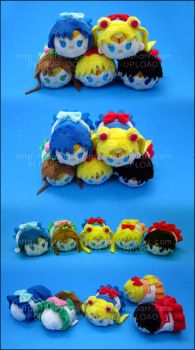 Stacking Plush: Mini Sailor Moon + Inner Scouts by Serenity-Sama