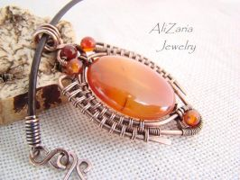 Scarab Pendant - Wire Wrapped Copper - Agate Stone by AliZariaJewelry
