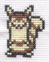 Mystery Dungeon Furret cross stitch by Lil-Samuu