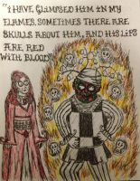 Melisandre's vision of Patchface by timburtongot