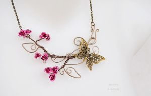 Rose wire necklace with butterfly by IanirasArtifacts