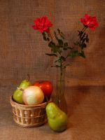 Fruit and Vegetable Still-Life With Roses   by Artlune