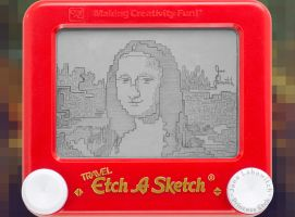 Mona Lisa etch a sketch by pikajane