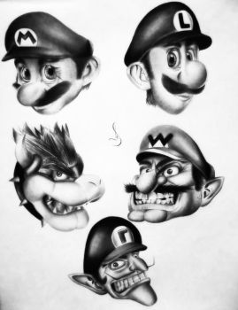 Drawing of Mario bro, Bowser, Waluigi, Luigi, Wari by jhonatan23