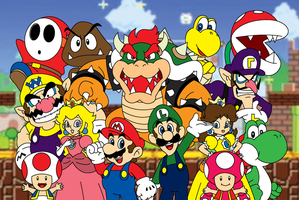 Super Mario and Friends - Complete Poster by SuperSmashIn3DLand